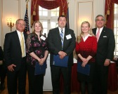 Left to right: Secretary Larry Roberts, Shannon Couch, Steven Fields, Kaycie Len Sparrow, Lt. Gov. Jerry Abramson